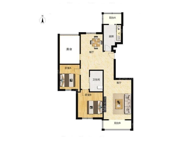 北京我爱我家门头沟2002年 南北通透两居室 100平米388万第7张图