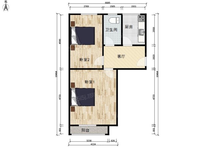 北京我爱我家新上胜古南里,精装两居室,地铁5号线和平西桥,业主诚意出售第6张图