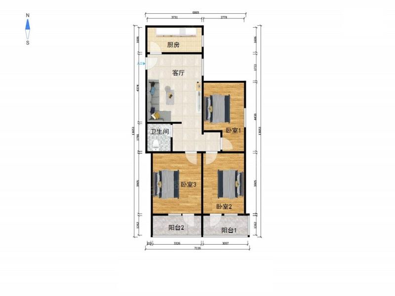 北京我爱我家东南向三居室,高楼层,无遮挡,把角户型,看房方便第7张图