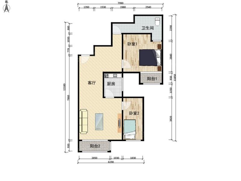 北京我爱我家新景家园东区二室一厅一卫第6张图