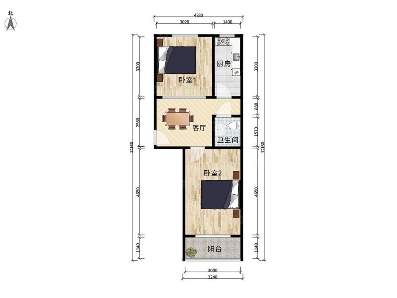 北京我爱我家双龙南里,板楼主力两居户型,南北通透,视野好第6张图