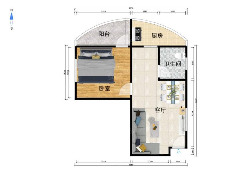 北京我爱我家三环新城7号院 正规一居室 东西通透 实用性高 看房方便第6张图