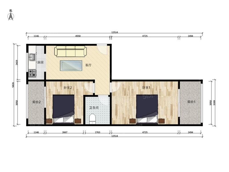 北京我爱我家中间楼层,正规两室一厅,有扩建面积,无遮挡,诚心出售第6张图